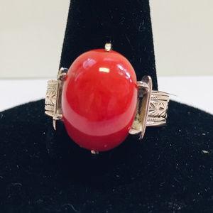 Antique Victorian 14kt rose gold coral ring, 7-3/4
